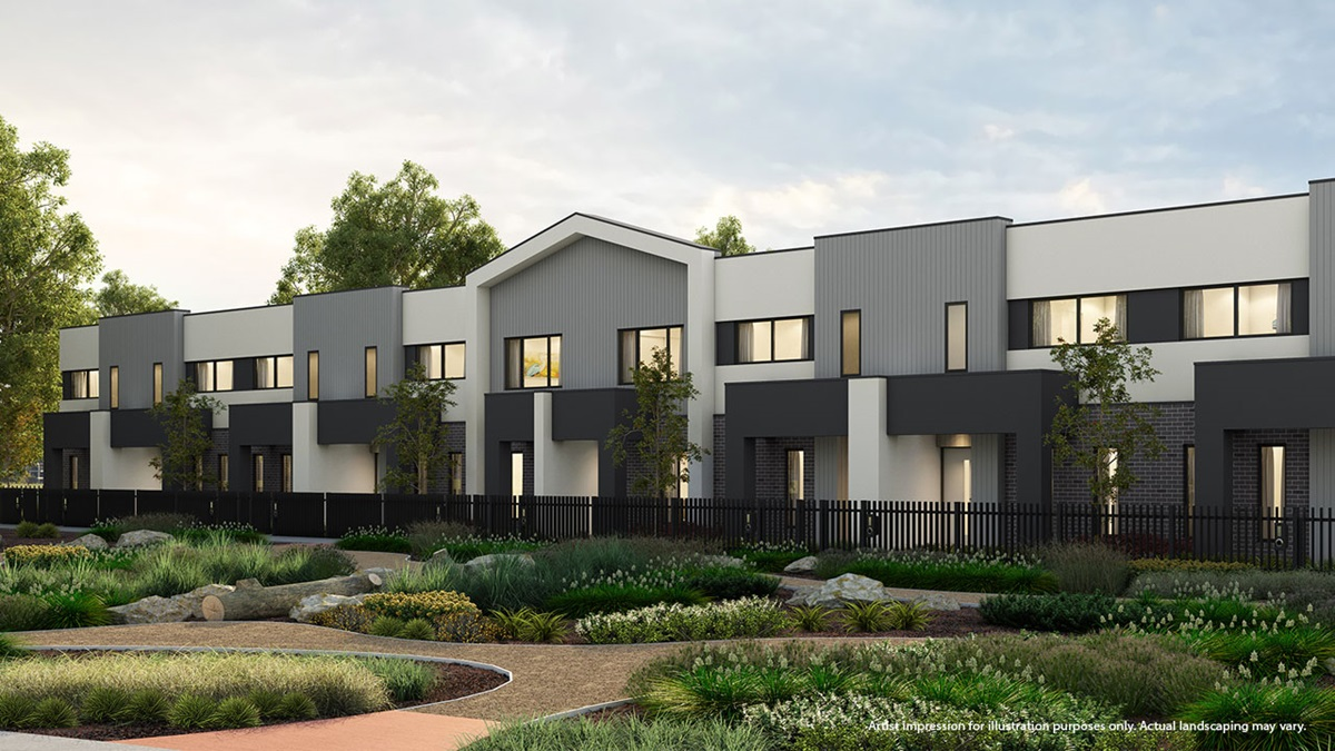 Parklands townhomes at Newhaven by Metricon TownLiving.  Barmah streetscape, artist impression.
