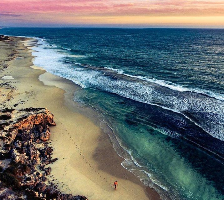 Drone picture of Yanchep Lagoon at sunset