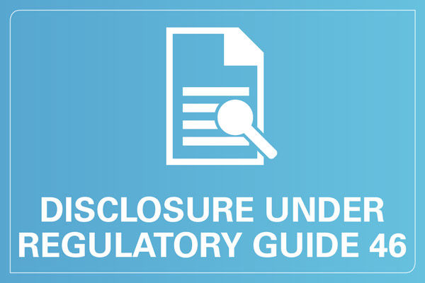 Disclosure under regulatory guide 46
