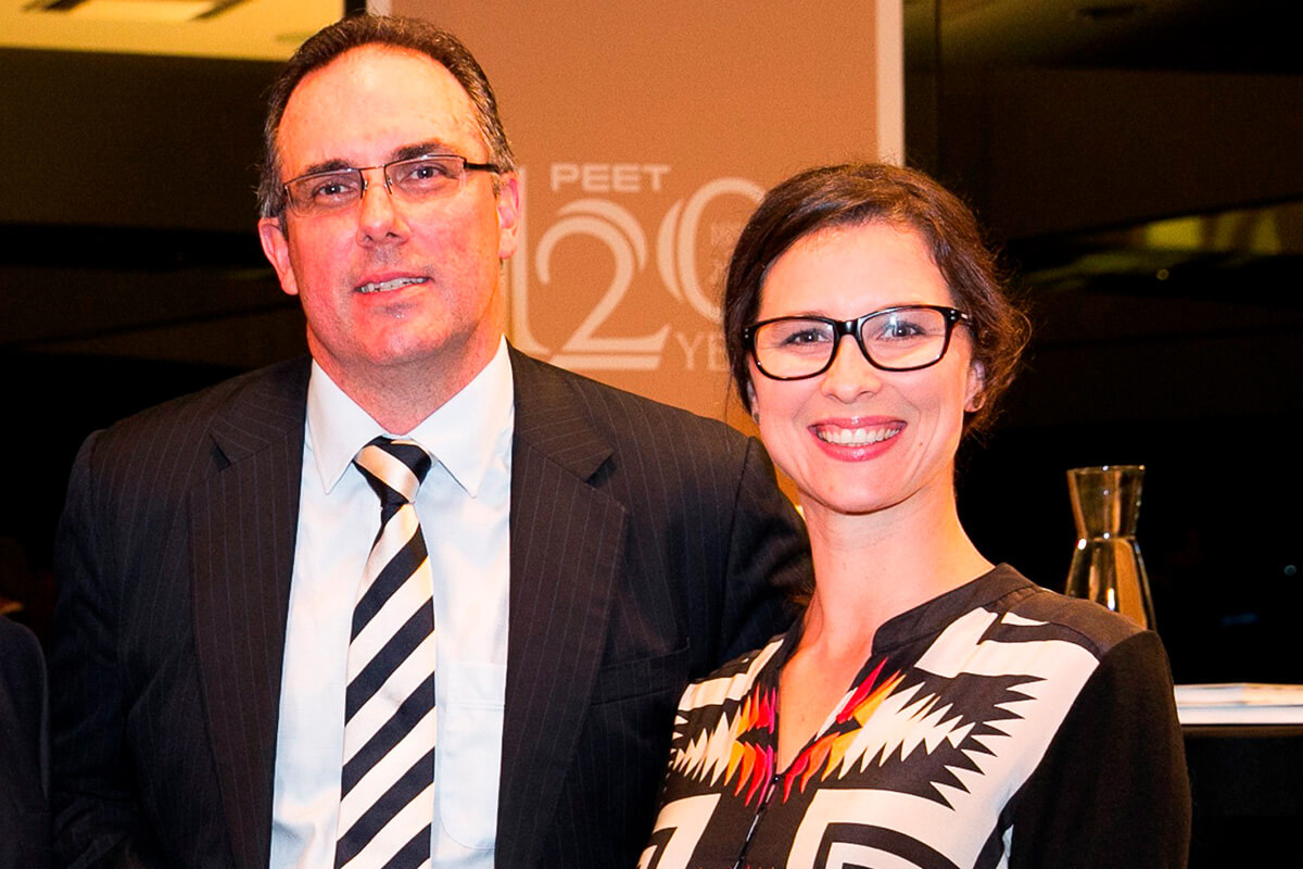 Peet Managing Direct and CEO, Brendan Gore, with Alongside's Sarah Yates at Peet's 120 year anniversary celebrations