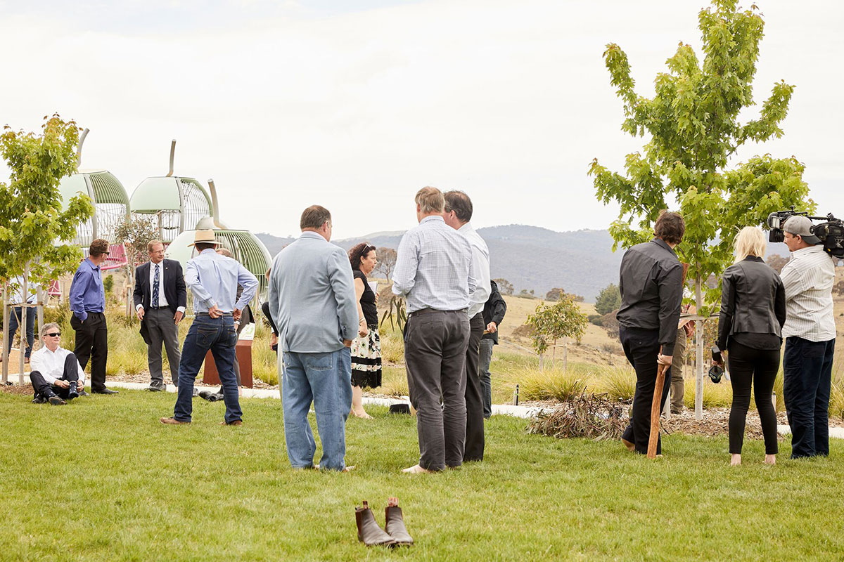 Shoes off at Googong cleansing ceremony