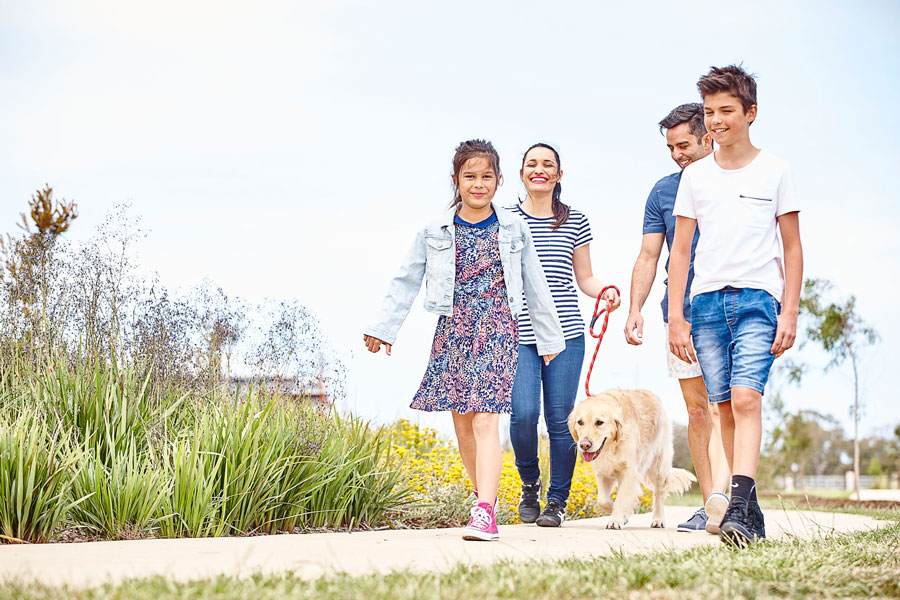 Family walking with their dog at Cornerstone