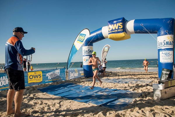 open water swim crossing finish line shorehaven