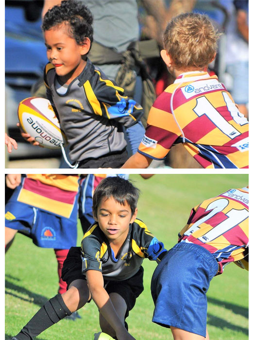 Two photos of two boys playing rugby